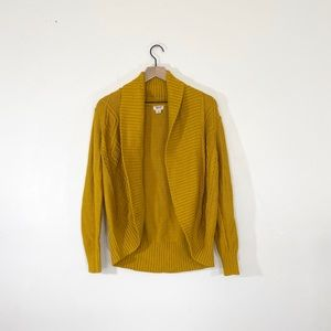 Mossimo Mustard Yellow Cable Knit Cardigan